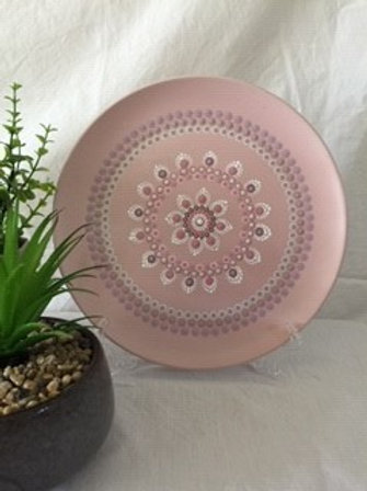 26.5cm Soft Pink and White Food Safe Mandala Platter
