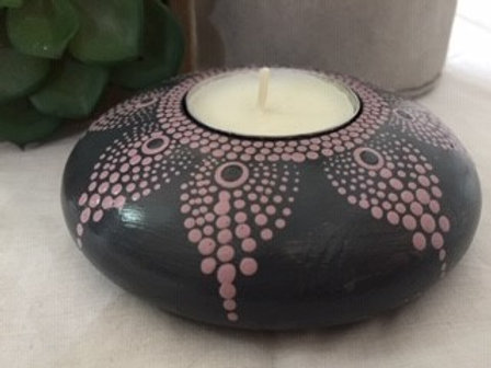 Black and muted Pink Tealight Candle Holder