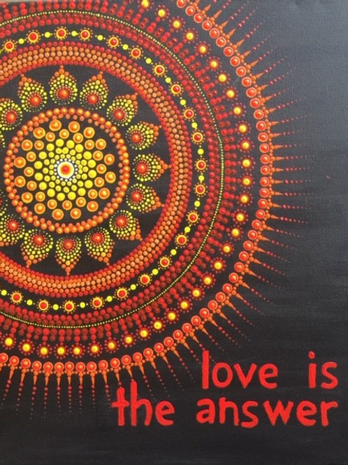 Love is the Answer, Yellow, Orange, Red Mandala Canvas 50cm x 40cm x 1.7c
