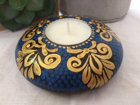 Blue and Gold brush detail Mandala Tealight Candle Holder