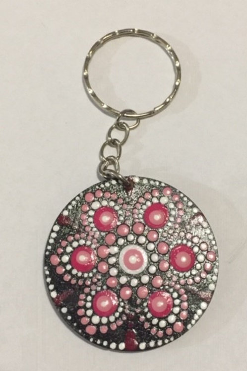 Pink, White and Black keyring 4cm diameter