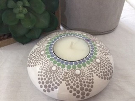 Beige with a touch of Blue and Green Tealight Candle Holder