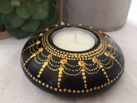 Black and Gold Mandala Tealight Candle Holder
