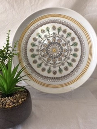 Large 34cm Gold, Green, FawnFood Safe Mandala Platter