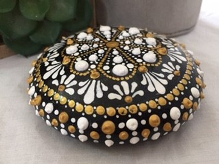 White, Gold and Black Mandala Talisman Stone