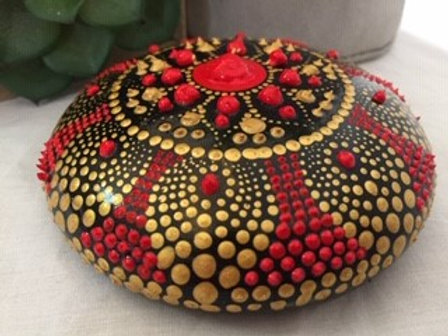 Red and Gold fine detailed Mandala Talisman Stone