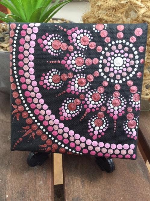 Mini Pink and Rose Gold Mandala Canvas 10cm x 10cm x 1.7cm