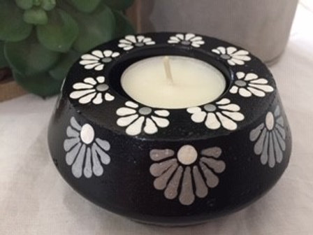 Black, White and Silver Tealight Candle Holder