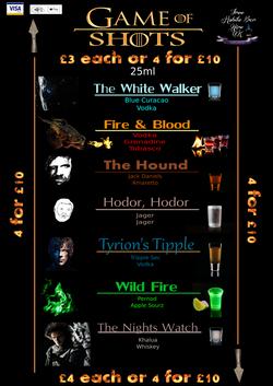 game of thrones menu 2018