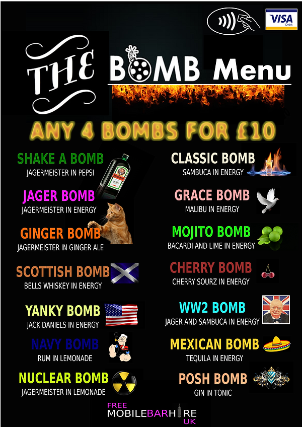 Drinks Bomb Menu
