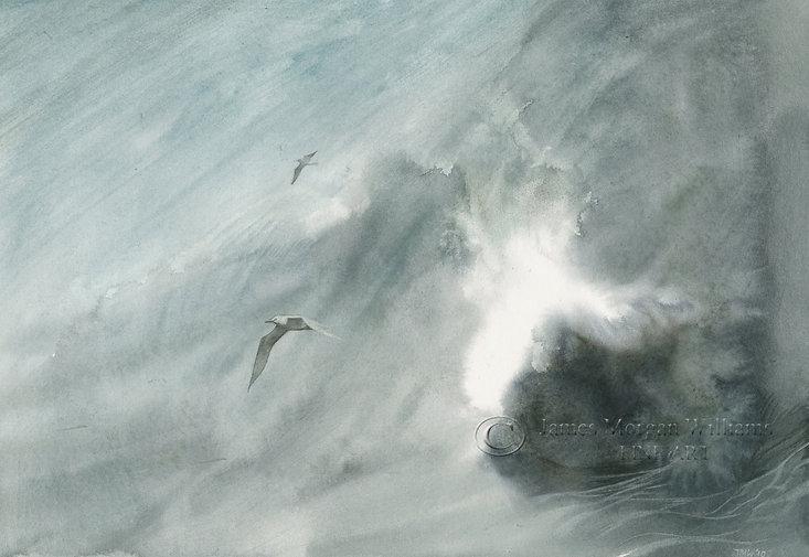 Breaking Wave seascape watercolour james morgan williams gulls splash