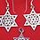 Thumbnail: וינטג' סט תליון ועגילים מגן דוד מכסף סטרלינג 925 ישראל 80
