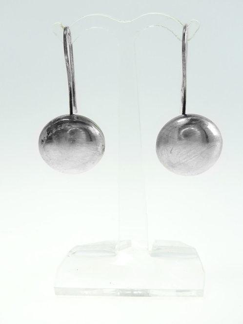 זוג עגילי וינטג' מכסף סטרלינג 925 עיגולי כסף חלולים בעבודת יד עיצוב מודרניסטי aaronjewelryart.com