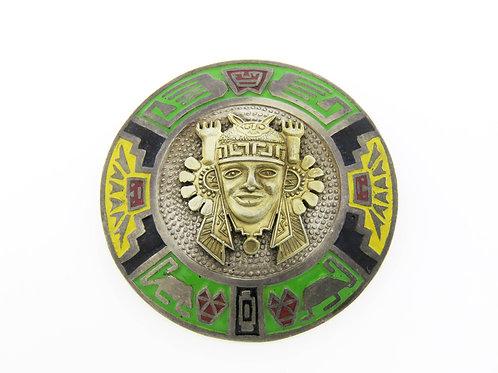 סיכה תליון וינטג' סטרלינג כסף 925 אמייל צבעוני עבודת יד 50' פרו  aaronjewelryart.com