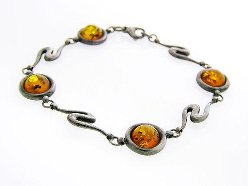 Vintage Sterling Silver 925 artisan bracelet with Ambers Handmade Israel 80' aaronjewelryart.com