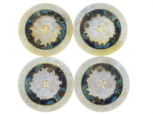 4 כפתורי אם הפנינה משובצים בברונזה מעוטרת אמאייל  צבעוני צרפת תחילת המאה ה-20 aaronjewelryart.com