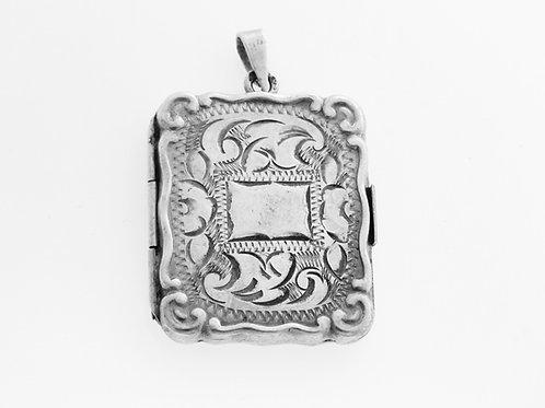 תליון וינטג' נפתח מכסף סטרלינג 925 בצורת מלבן בעבודת יד ישראל שנות ה'70 aaronjewelryart.com