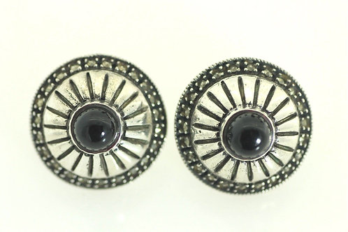 Vintage Sterling silver 925 Artisan Earrings with Onyx & Hematite