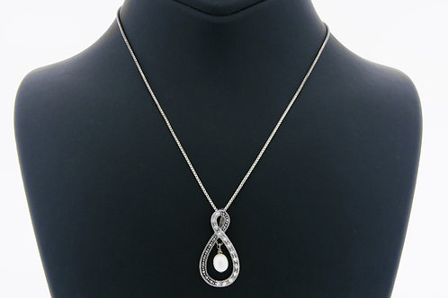 Sterling Silver 925 Necklace and Pendant Pearl and Zirconia Stones The Endless Symbol of Italy 90 'aaronjewelryart.com