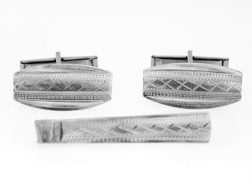 aaronjewelryart.com חפתים וסיכת עניבה מכסף 925 וינטג' ישראל שנות ה'50 בעבודת יד