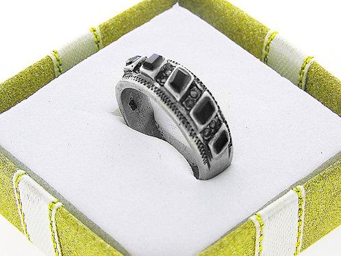 טבעת וינטג' מכסף סטרלינג 925 אוניקס בעיצוב מודרני עבודת יד ישראל שנות ה'70 aaronjewelryart.com