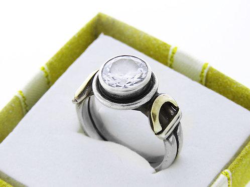טבעת וינטג' מכסף סטרלינג 925 זירקון וזהב בעיצוב מודרני עבודת יד ישראל שנות  ה'80  aaronjewelryart.com
