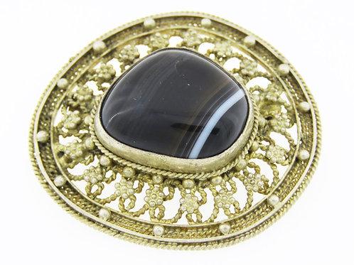 Vintage Israel Judaica sterling Silver 925 Gilded Filigree Agate stone Pin brooch pendant 50'