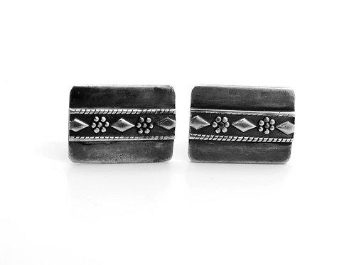 זוג חפתים וינטג' מכסף סטרלינג 925 מעוטרים  פיליגרין עבודת יד ישראל -'50