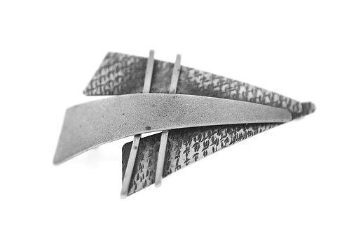 וינטג' תליון סיכה מכסף סטרלינג 925 בעיצוב מודרני עבודת יד ישראל '60  aaronjewelryart.com