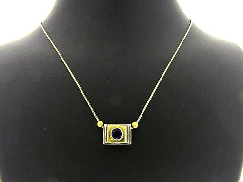 שרשרת ותליון וינטג' מודרניסטי כסף סטרלינג 925 וזהב אבן כחולה איטליה - '80 aaronjewelryart.com