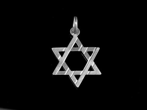 תליון וינטג' מגן דוד מכסף טהור עיצוב מודרניסטי גאומטרי ישראל שנות ה 70 aaronjewelryart.com