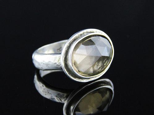 טבעת וינטג' מכסף סטרלינג 925 בעיצוב מודרני עבודת יד משובץ בסמוקי קוורץ ישראל '70  aaronjewelryart.com