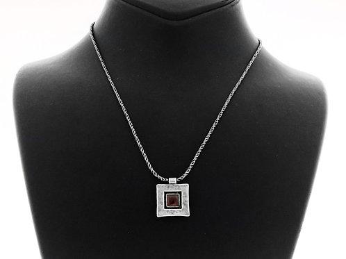 Vintage Sterling Silver 925 Modernist Necklace Pendant Garnet Shablool Israel 80  aaronjewelryart.com