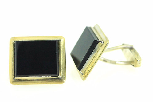Vintage silver sterling 875 Gold wached Onyx Artisan Cufflinks Russia 50'