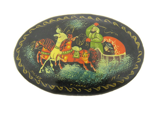 Antique Vintage Brooch Pin Hand Painted wood Lacquer horse sleigh Russian aaronjewelryart.com