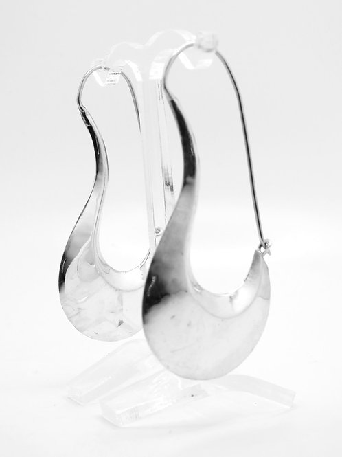 זוג עגילי וינטג' מכסף סטרלינג 925 חלולים בעבודת יד עיצוב מודרניסטי ישראל-'70 aaronjewelryart.com