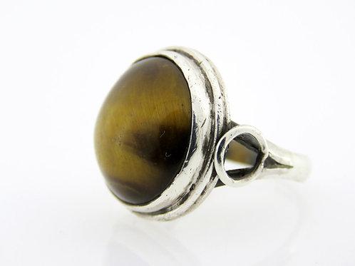 וינטג סטרלינג כסף 925 טבעת משובצת אבן טייגר איי מודרני ישראל 60