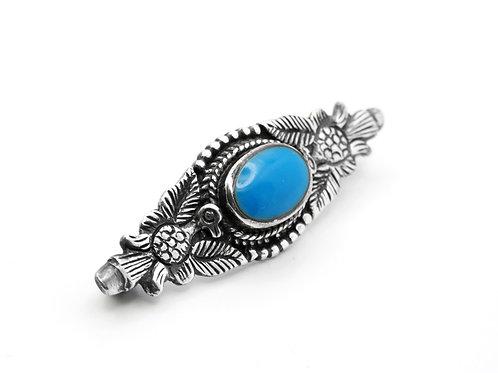 סיכה וינטג' מכסף סטרלינג 925 זוג ציפורים משובצת באבן כחולה עבודת יד אומנותית