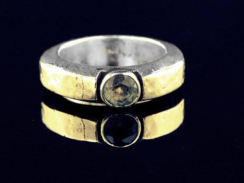 70' טבעת וינטג' מכסף סטרלינג 925 עם זהב משובצת באבן סמוקי קוורץ עבודת יד aaronjewelryart.com