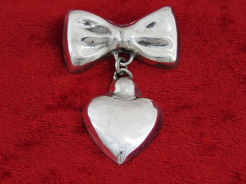 Vintage Sterling Silver 925 Papillion heart Pendant Pin brooch handmade Mexico 50'