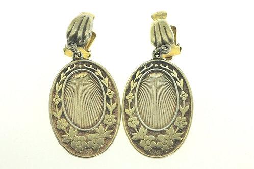 Vintage sterling silver 925 gold plated Clip Earrings flower pattern Israel 50'