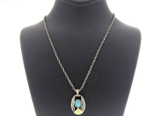 Vintage Sterling Silver 925 and Gold Modernist Necklace Pendant Opal Israel 80' aaronjewelryart.com