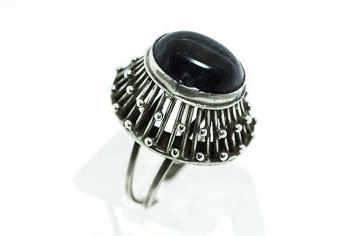 טבעת וינטג' מכסף סטרלינג 925 אבן אגת אגת אבן שחורה מתכווננת גדולה מרשימה ישראל 50  aaronjewelryart.com