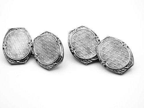 זוג חפתים עתיקים עשויים כסף מלא 850 עיצוב ארט דקו אירופאי קלאסי עבודת גיושה aaronjewelryart.com