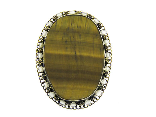 Vintage large Sterling Silver 925 Filigree Tiger eye Pin Brooch pendant Israe