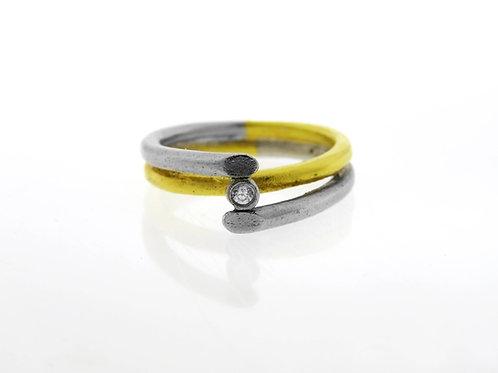 טבעת וינטג' מכסף סטרלינג 925 בעיצוב מודרני בעבודת יד ישראל 60  aaronjewelryart.com
