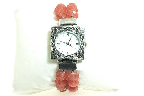 Stunning Sterling Silver 925 red Stone Beads Modernist Artisa Wristwatch Israel aaronjewelryart.com