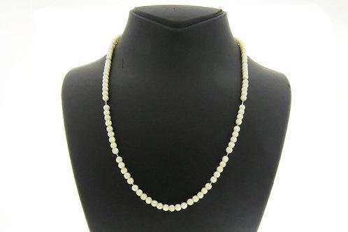 וינטג' שרשרת פנינים טבעיות לצוואר בעלות צבע לבן יפה הסוגר עשוי מכסף סטרלינג 925 aaronjewelryart.com