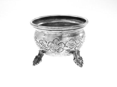 Vintage Saltware Sterling Silver 925 harbal Decoration Handmade Hammered Israel '50s aaronjewelryart.com