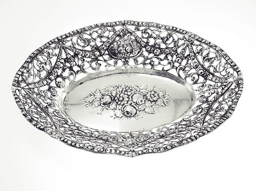 Vintage bowl Solid silver 800 basket flower and roses decorations in Israel 1950s 155 grams aaronjewelryart.com